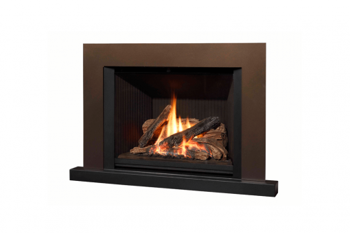 785 Logs, Fluted Black Liner, Floating Trim Kit in Bronze and Riser Trim in Black
