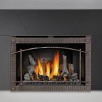 IRONWOOD™ Log Set, MIRRO-FLAME™ Porcelain Reflective Radiant Panels, Premium Scalloped Artisan Steel Door, Five Piece Surround Painted Black Finish 9″