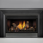 PHAZER® Logs, MIRRO-FLAME™ Porcelain Reflective Radiant Panels, Bevelled Flashing, Stainless Steel Louvers