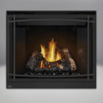 PHAZER™ Log Set, MIRRO-FLAME™ Porcelain Reflective Radiant Panels, Classic Resolution Front, with Black Curved Accent Bars, Standard Safety Screen