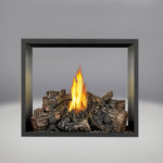 PHAZER Log Set Burner, Sandstone Brick Panels, Painted Black Trim Kit