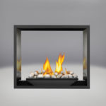 River Rock Media Burner, MIRRO-FLAME™ Porcelain Reflective Radiant Panels, Painted Black Faceplate
