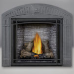 TALL FLAME PHAZER® Log Set, Custom Blend LEDGEROCK, Decorative Front, Arched Surround