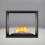 Topaz CRYSTALINE™ Emberbed Burner, MIRRO-FLAME™ Porcelain Reflective Radiant Panels, Painted Black Faceplate