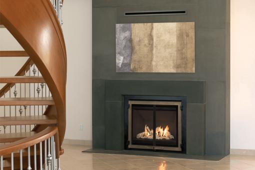 Driftwood, Edgemont Double Doors in Bronze and the Valor HeatShift System