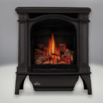 Painted Black Finish, MIRRO-FLAME™ Porcelain Reflective Radiant Panels, PHAZER® Log Set, Standard Safety Screen