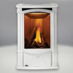 Porcelain Enamel Winter Frost Finish, PHAZER® Logs, Sandstone Brick:Stone Panel and built-in NIGHT LIGHT™, Standard Safety Screen