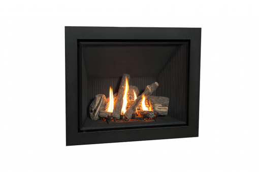 Traditional Logs, Fluted Black Liner and 4 Sided Front in Black