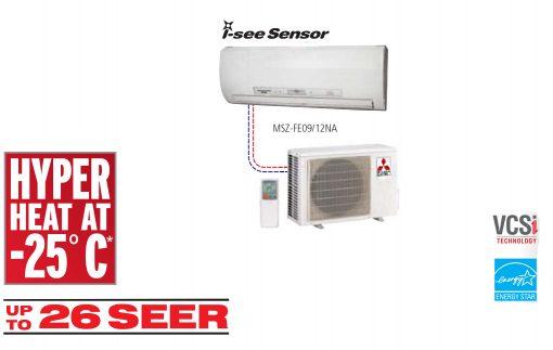 Single Hyper Heat Ductless Split systems (FE) Wall-Mounted Style